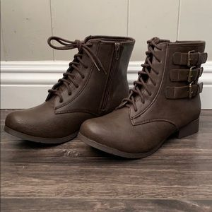 Dark brown Round Toe Lace Up Ankle Boot